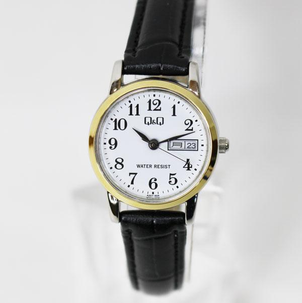 【メール便 】CITIZEN Q&Q 腕時計 スタンダード アナログ 合皮ベルト カレンダー表示 ゴールド ホワイト A207-504 レディース