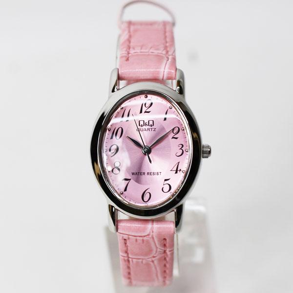 【メール便 】シチズン Q&Q 腕時計 曲面ガラス  3気圧防水 アナログ 楕円 スタンダード ピンク VZ89-325 レディース