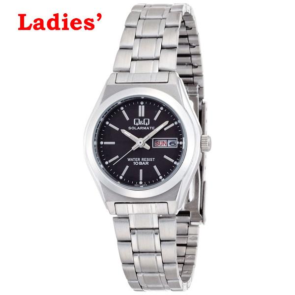シチズン Q&Q 腕時計 ソーラー電源 アナログ 日付表示 10気圧防水 ブラック レディースH011-202【あす楽対応】