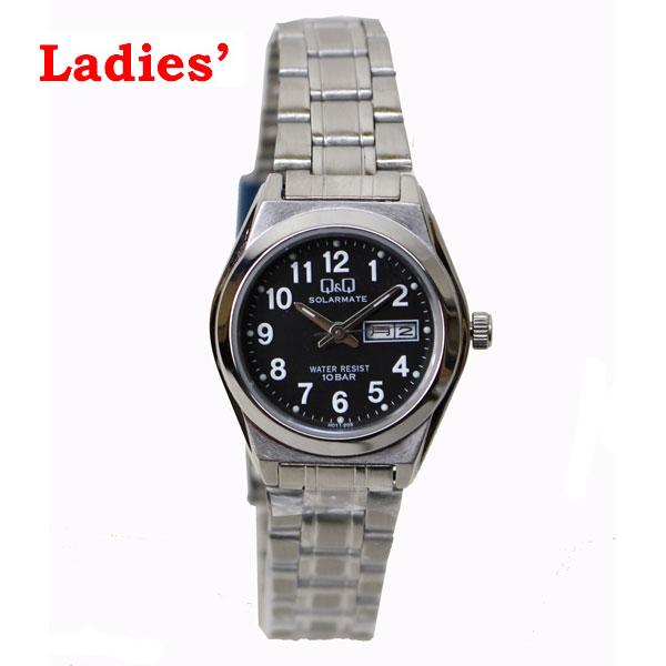 シチズン Q&Q 腕時計 H011-205 ソーラー電源 アナログ 日付表示 10気圧防水 ブラック レディース H011-205【あす楽対応】