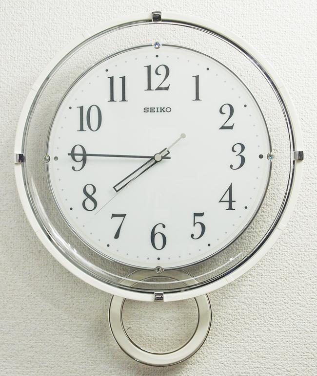 送料無料 訳あり特価! SEIKO セイコークロック ゆっくり振り子時計 電波掛時計 (白塗装光沢仕上げ) PH205W【動画あり】【あす楽対応】