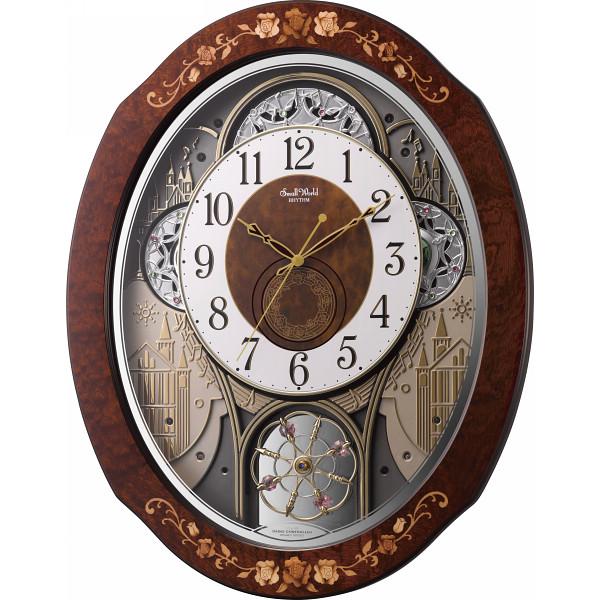 リズム時計 スモールワールド 電波からくり時計 スモールワールドティアモ 象嵌細工 メロディ30曲 木枠 スワロフスキー エレメント 茶 4MN521RH06 【動画あり】送料無料 シチズン 電波時計 掛け時計