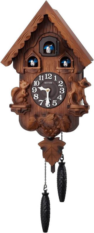【動画あり】送料無料 リズム時計 ふいご式カッコー時計 カッコーパンキーR 4MJ221RH06 木枠/濃茶ボカシ木地仕上げ
