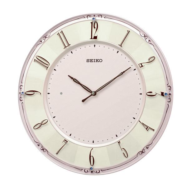 送料無料 セイコークロック SEIKO 電波掛け時計 薄型 ピンクパール KX504P 【取り寄せ品】