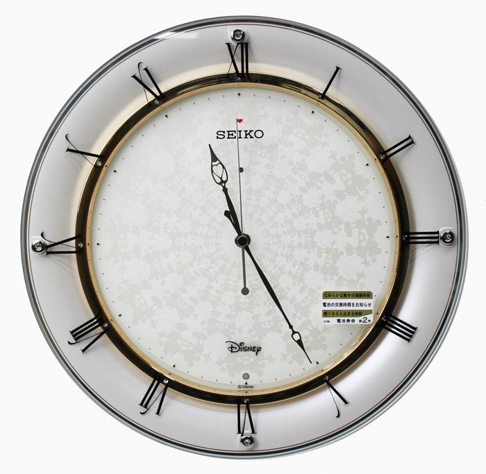 セイコー 大人ディズニー 電波掛け時計 連続秒針 スワロフスキークリスタル 白 FS501W ミッキー&ミニー【取り寄せ品】送料無料 SEIKO 壁掛け時計