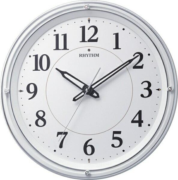 リズム時計 リバライト 電波掛け時計 533 自動点灯 白パール塗装 スワロフスキークリスタル 8MY533SR03 【お取り寄せ品】送料無料 電波時計 掛け時計 連続秒針