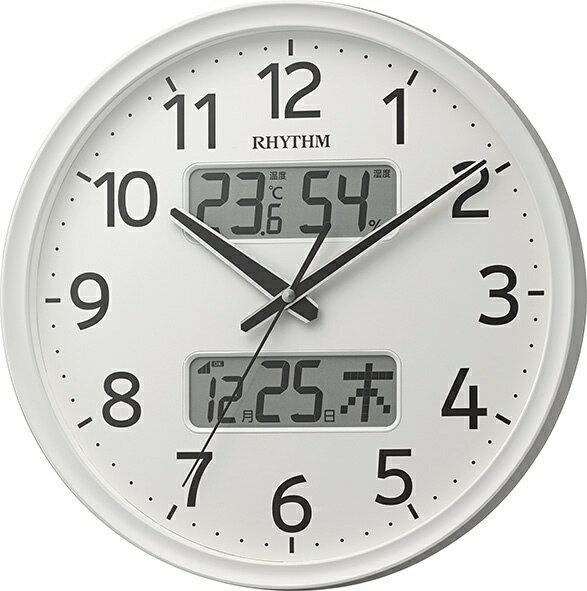 リズム時計 RHYTHM 温度・湿度計付電波掛け時計 「フィットウェーブリブA03」 8FYA03SR03