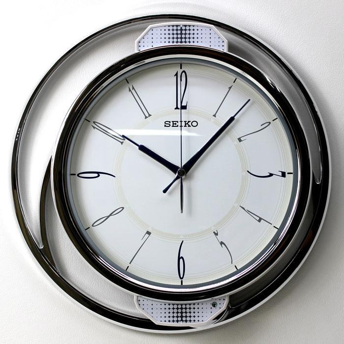 【動画あり】セイコー 電波掛け時計 振り子時計 ゆっくり振り子 連続秒針 モダン 白パール塗装 PH207W 電波時計 壁掛け時計【あす楽対応】