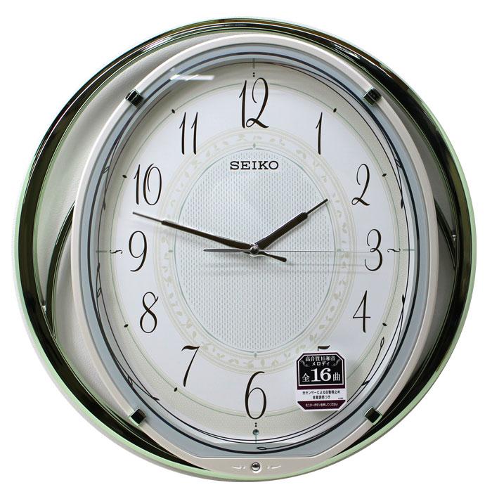 送料無料★セイコー SEIKO 電波アミューズ掛け時計 AM262M(薄緑) 背面振り子時計【あす楽対応】