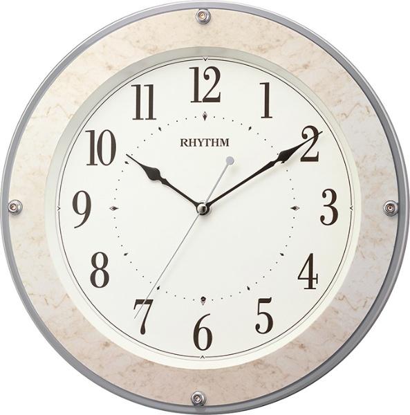 リズム時計 電波掛時計 フィットウェーブミレディM549 8MY549SR38 ベージュマーブル柄