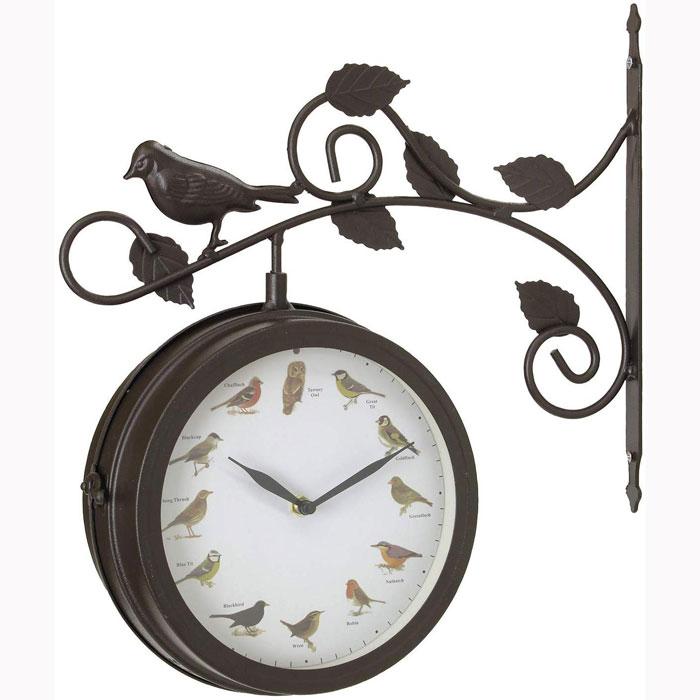 送料無料 OLD STREET 壁掛け両面時計 時報付き バード ブラウン SP-NHE920BR【あす楽対応】乾電池付