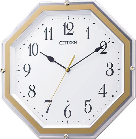 送料無料 シチズン CITIZEN 電波掛時計 8MY544-003 八角形 白パール