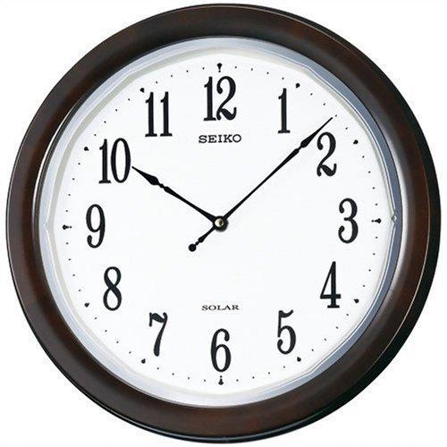 セイコー ソーラー電波時計 ソーラープラス 薄型 木枠 濃茶木地塗装 光沢 SF504B 送料無料 電波時計 掛け時計