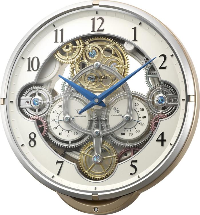 リズム時計 からくり時計 電波時計 スモールワールシーカーJ メロディ30曲 ピンクメタリック色 4MN529RH13 送料無料 掛け時計 シチズン【あす楽対応】