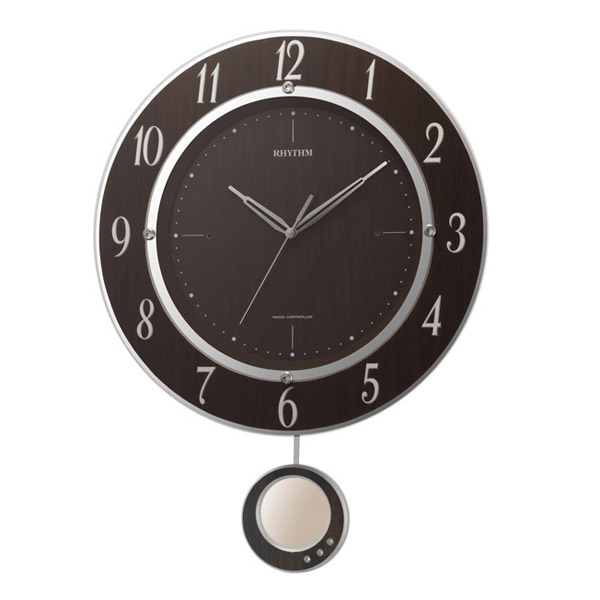 送料無料 電波掛け時計 トライメテオDX 振り子時計 連続秒針 スワロフスキー・エレメント 8MX403SR23 茶色木目仕上 リズム時計 シチズン