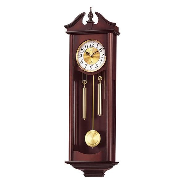 送料無料 リズム時計 振り子時計 キャロラインR 4MJ742RH06 濃茶木地仕上