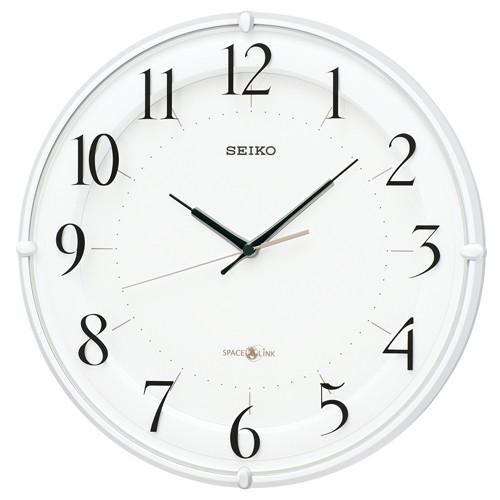 セイコークロック 衛星電波掛時計 スペースリンク 連続秒針 白パール塗装 GP216W【取り寄せ品】送料無料 セイコー電波時計 スイープ セイコー掛け時計 壁掛け時計 壁掛け