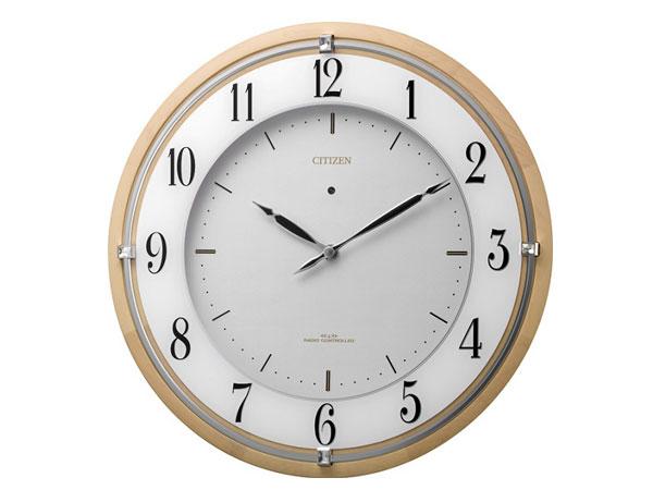 シチズン ソーラー電波掛け時計 サイレントソーラーM837 スワロフスキークリスタル 木枠 薄茶半艶仕上げ 4MY837-006 送料無料
