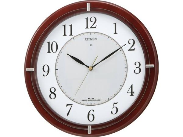 リズム時計 ソーラー電波掛時計 エコライフM768 4MY768-006 茶色 アナログ 送料無料