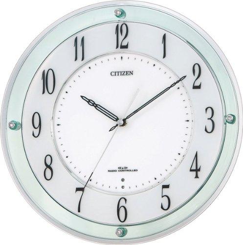 リズム時計 電波掛け時計 ミレディM791 スワロフスキー・エレメント グリーン 送料無料 4MY791-005