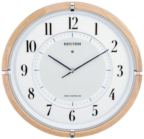 リズム時計 《ソーラー電源》電波掛け時計 サイレントソーラーM848 木枠 薄茶 半艶 4MY848SR06 送料無料 RHYTHM