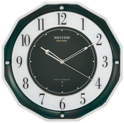 リズム時計 高感度電波時計 スリーウェイブ M846 日本製 緑メタリック スワロフスキー・クリスタル 4MY846SR05 RHYTHM 送料無料