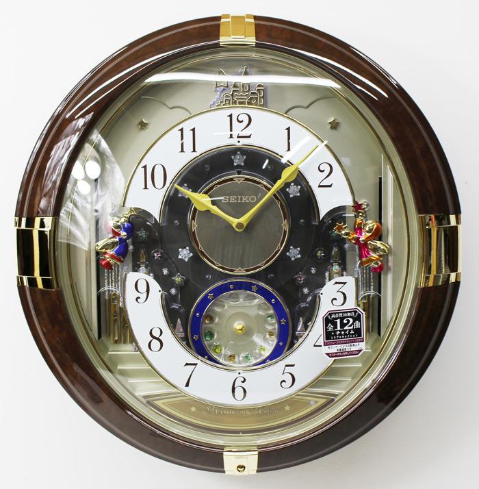 セイコークロック からくり時計 壁掛け時計 LED 茶 マーブル模様 RE816B 電波時計 掛け時計【あす楽対応】送料無料
