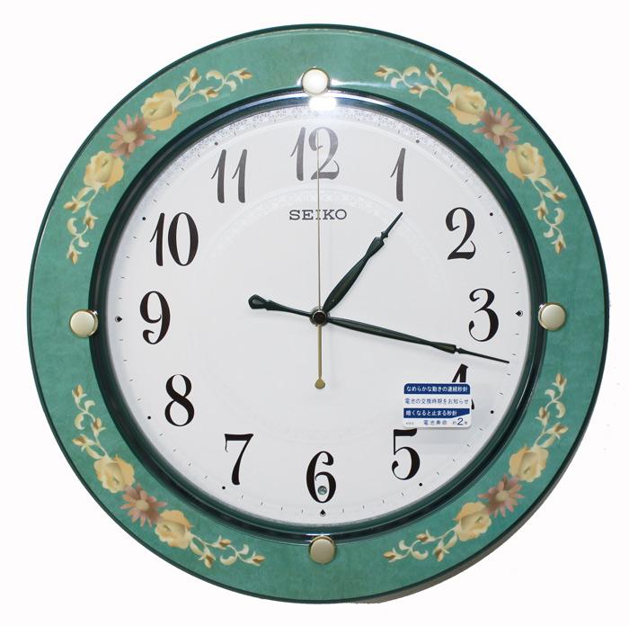 セイコークロック 電波掛け時計 緑花柄模様 KX220Mグリーン【あす楽対応】送料無料 SEIKO 電波時計 壁掛け時計 スイープ