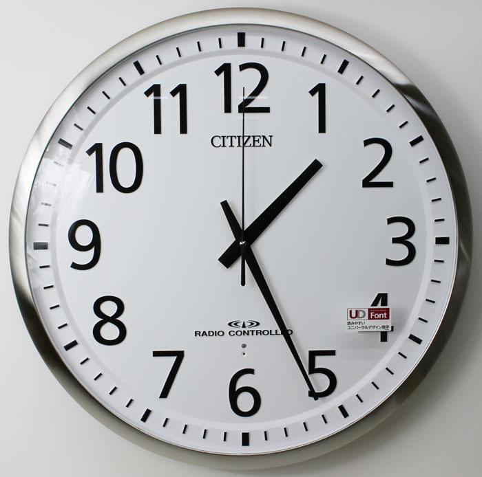 シチズン 電波掛け時計 スペイシーM465 屋内用 大型 55cm 連続秒針 白 8MY465-019 リズム時計 送料無料