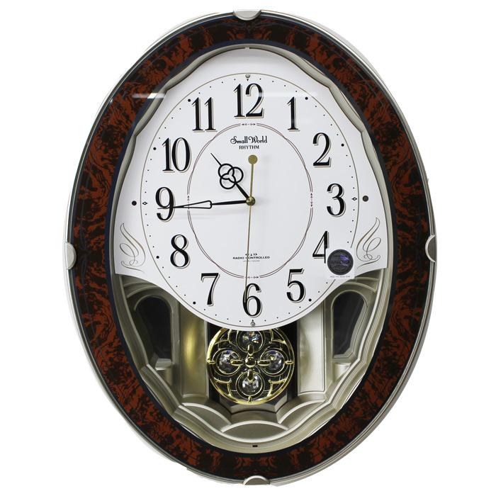 スモールワールドハイム メロディ電波掛け時計 振り子時計 スワロフスキー・エレメント飾り 4MN520RH23リズム時計 シチズン【あす楽対応】