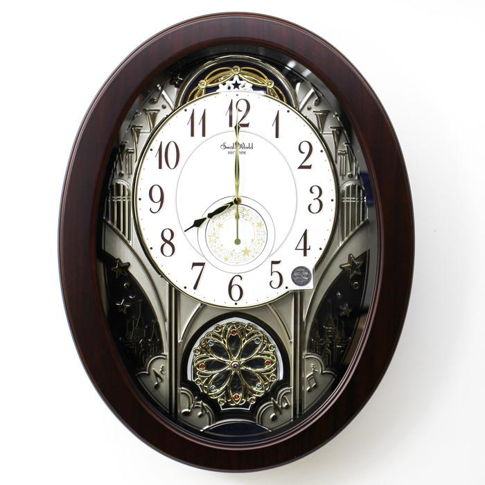 リズム時計 電波からくり時計 スモールワールド ジェーン 木枠 メロディ30曲 薄型 スワロフスキー・エレメント 回転飾り 茶 4MN526RH06 シチズン 【あす楽対応】 送料無料
