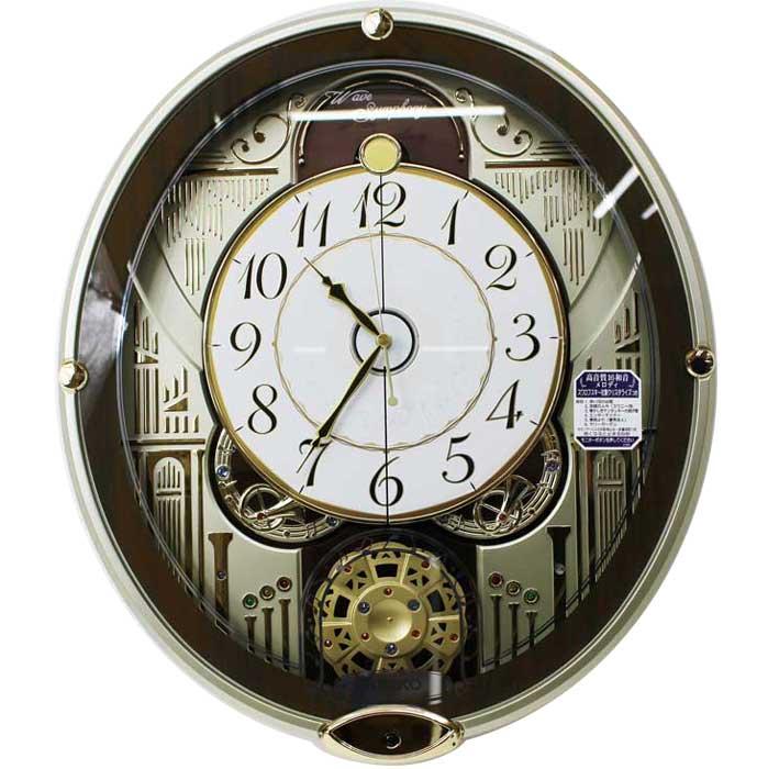 セイコークロック からくり時計 電波時計 メロディ付き スワロフスキー・クリスタル 連続秒針 RE577B 【あす楽対応】掛け時計 SEIKO 送料無料 動画あり