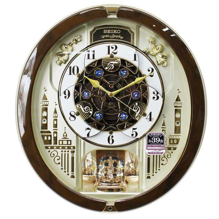 セイコー からくり時計 電波掛け時計 メロディ全39曲 スワロフスキー・クリスタル 連続秒針 茶マーブル模様 RE579B ブラウン 動画あり 送料無料【あす楽対応】