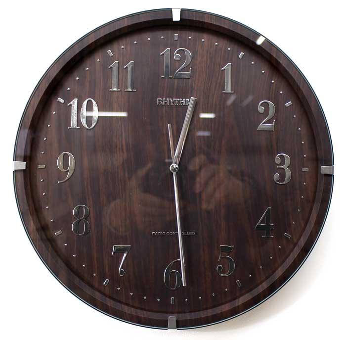 【取り寄せ品】リズム時計 電波掛け時計 ライブリーアリス 木目柄 連続秒針 8MY501SR06 ブラウン 丸型