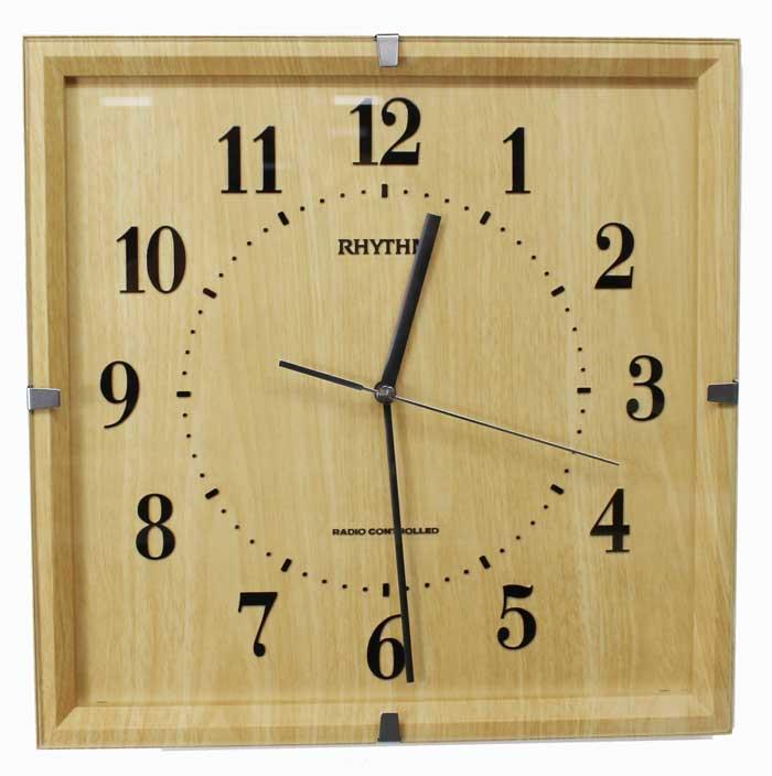 リズム時計 電波掛け時計 ライブリーエミリ 連続秒針 木目柄 ナチュラル 薄茶 8MY502SR07 【あす楽対応】 送料無料 電波時計 掛け時計