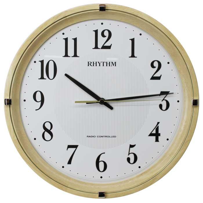 送料無料 リズム時計 電波掛時計 フィットウェーブライキー 木枠 連続秒針 薄茶色 半艶仕上げ 8MYA32SR07【あす楽対応】 掛け時計