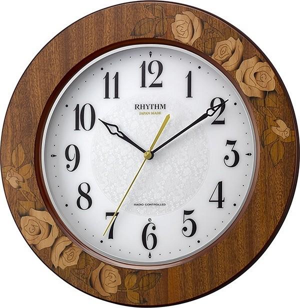 リズム時計 電波掛け時計 アマービレM520 象嵌細工 バラ ブラウン 送料無料 8MY520SR06 RHYTHM