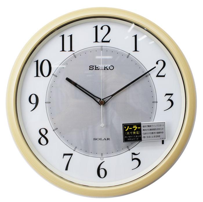 セイコー ソーラー電波時計 ソーラープラス スイープセコンド 連続秒針 薄茶 SF243B 【あす楽対応】送料無料 ソーラー電源 電波時計 掛け時計