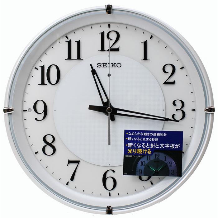 送料無料 セイコー ファインライトネオ 均一に光る 電波掛け時計 自動点灯 明るさ切替 白 KX233W 夜でも見える【あす楽対応】壁掛け時計 電波時計 連続秒針 おやすみ秒針
