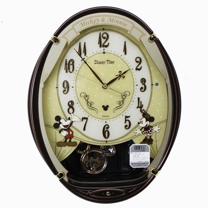 セイコー SEIKO アミューズ 電波時計 ディズニータイム 電波振り子時計 ミッキー ミニー メロディスワロフスキークリスタル 茶メタリック塗装 FW579B 送料無料