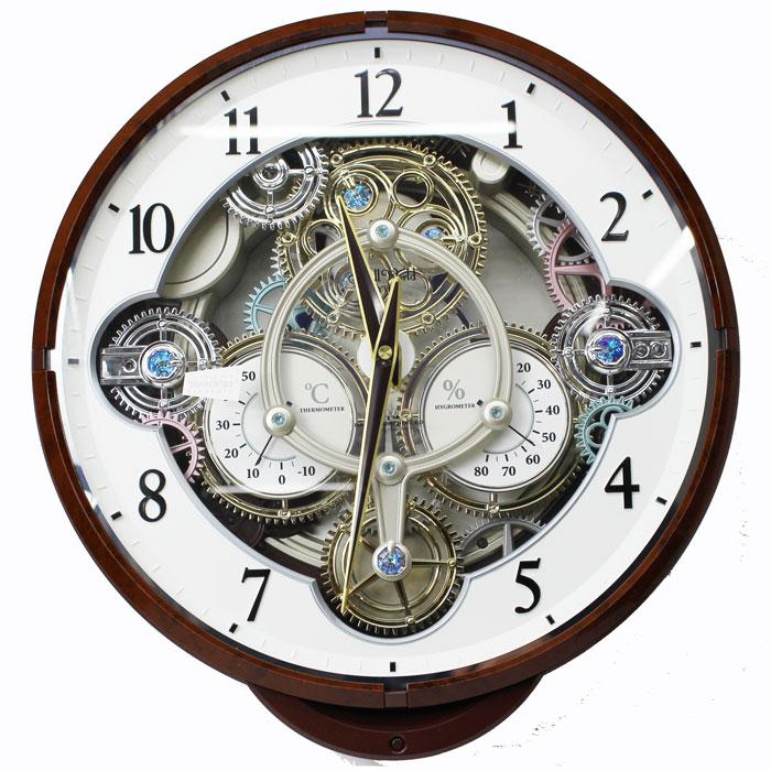 リズム時計 からくり時計 電波時計 掛け時計 スモールワールド メロディ30曲 LEDランプ 温度計 湿度計 4MN515RH23 送料無料 シチズン
