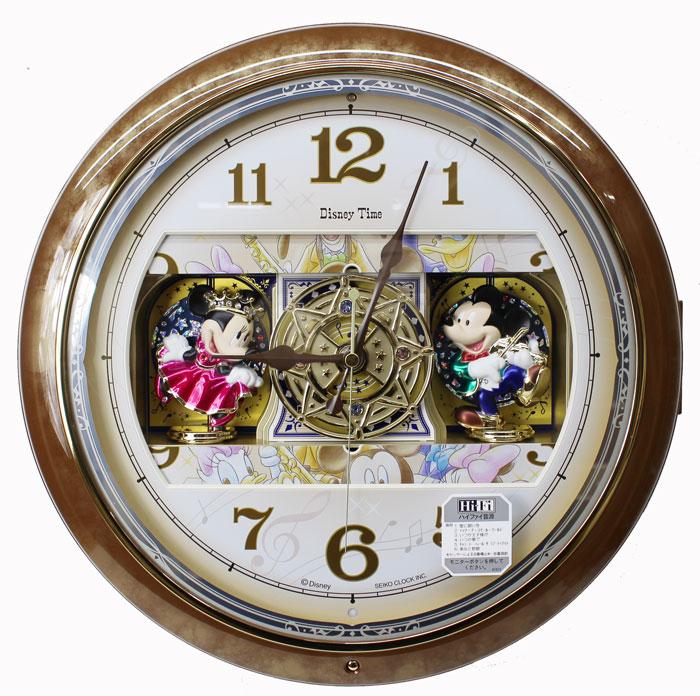セイコー ディズニータイム からくり時計 ミッキー&ミニー 電波掛け時計 連続秒針 茶マーブル模様光沢仕上げ FW587B 【あす楽対応】【動画あり】 送料無料