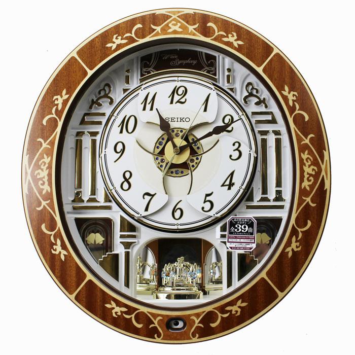 セイコー からくり時計 電波掛け時計 メロディ全39曲 バラの象嵌 連続秒針 天然木生地塗装 RE580B ブラウン【あす楽対応】動画あり 送料無料