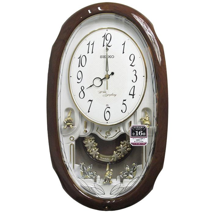 送料無料 SEIKO セイコークロック  ウエーブシンフォニー アミューズ電波掛時計(茶) AM260A【あす楽対応】【動画あり】