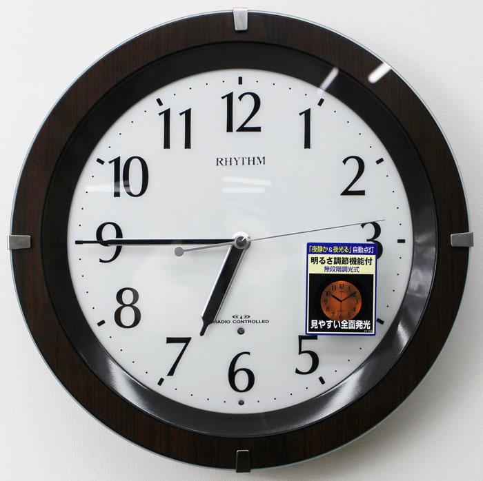 リズム時計 リバライトF460SR 電波時計 暗くなるとライトが点灯(茶色) 8MY460SR06