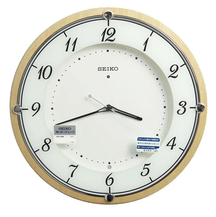 送料無料 訳あり特価!セイコークロック 電波掛時計 木枠 MDFメープルつき板貼り 天然色木地塗装 KX373A【あす楽対応】