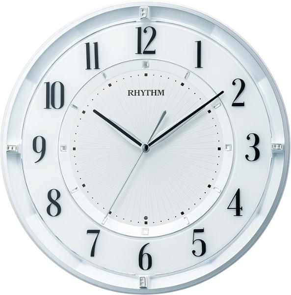 送料無料 リズム時計 電波掛け時計 フィットウェーブクールM551 8MY551SR03 白パール色