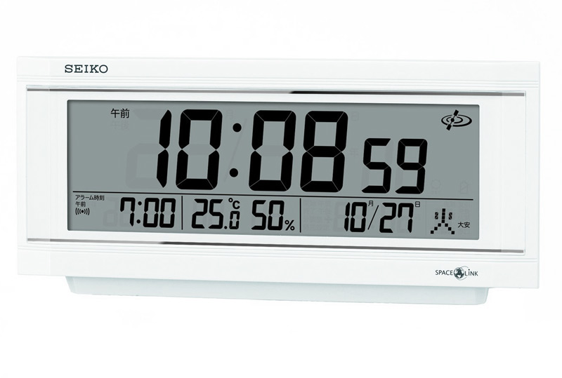 セイコークロック 衛星電波クロック スペースリンク デジタル置き時計 温度湿度表示 カレンダー ライト アラーム GP501W 白【あす楽対応】セイコー デジタル 電波時計 送料無料