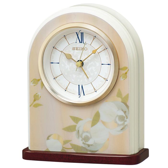 セイコー スタンダード クオーツ置時計 (MDF薄ピンク花柄模様、白塗装光沢仕上げ) QK736P 【取り寄せ品】