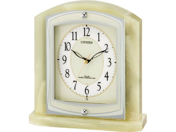 送料無料 シチズン/リズム時計 パルラフィーネR400 オニキス枠の置時計8RY400-005